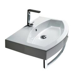 Nameeks�Losagna White Wall-Mount Bathroom Sink with Overflow