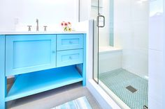 LOVE the blue vanity!  Projects | Noelle Interiors