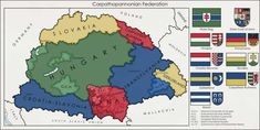 "Post with 0 votes and 8729 views. Proposed map of a federated Hungarian state ""Carpatho–Pannonian Federation"" x Historical Maps, Historical Pictures, Hungarian Flag, Map Diagram, Imaginary Maps, European Map, Geography Map, Fantasy Map, Epic Art"