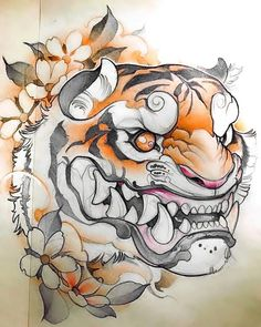 japanese tattoos designs and meanings Japanese Tiger Tattoo, Japanese Tattoo Designs, Japanese Sleeve Tattoos, Japanese Tiger Art, Body Art Tattoos, Tattoo Drawings, Hannya Maske, Cartoon Tiger, Tiger Drawing