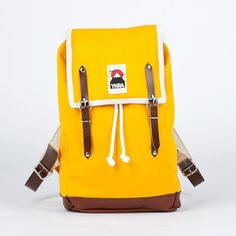 Knallgelber Rucksack mit Lederträgern // yellow backpack with leather straps by She/s a riot via DaWanda.com
