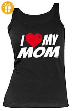 Damen Trägershirt mit Herz, Tank Top für Mama zum Geburtstag und Muttertag, Sprücheshirt, Funshirt - I love my Mom (*Partner-Link)