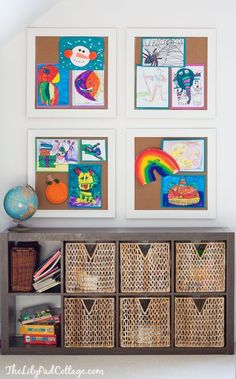 Colorful Playroom Decor- love the idea of giant cork board so display kids art w. Colorful Playroom Decor- love the idea of giant cork board so display kids art work. Loft Playroom, Playroom Organization, Playroom Design, Playroom Decor, Playroom Ideas, Toddler Playroom, Toddler Bed, Playroom Paint Colors, Colorful Playroom