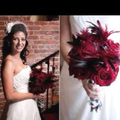 Black and red feather bouquet!!