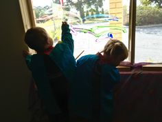 Clear cellophane attached to the window for children to paint all the colours of the rainbow onto. Free expression and colour identification and mixing at its funnest! Child Care, Reggio, Rainbows, Rainbow Colors, All The Colors, Window, Colours, Teaching, Paint