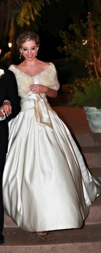 Priscilla of Boston ball gown with fur wrap.