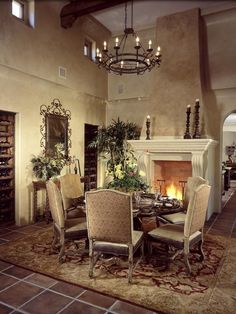 Dining chandelier and fireplace