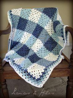 Gingham grannie blanket - so simple, so cool