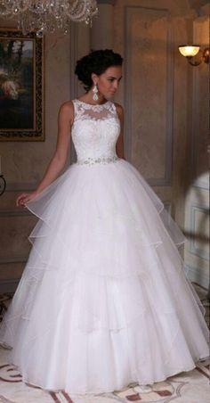 White Wedding Dress, Simple Wedding Dress, Elegant Wedding#Tulle#Appliques##BridalDresses#WeddingGowns#Wedding #WeddingDresses