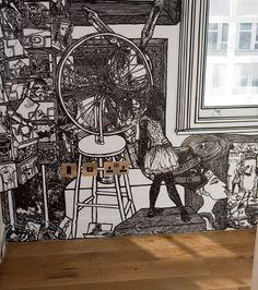 Charlotte Mann - black marker pen on wall and blinds
