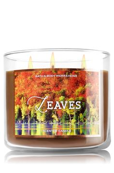 Maybe a nice pumpkin spice alternative . Leaves Candle - Home Fragrance 1037181 - Bath & Body Works Bath Candles, Candles And Candleholders, Home Candles, 3 Wick Candles, Scented Candles, Red Candles, Bath Body Works, Fall Scents, Home Scents