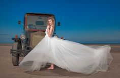 wedding dress made of tulle and lace and old car. Irish Beach, Handmade Wedding Dresses, Communion Dresses, Everyday Dresses, First Communion, Lace Flowers, Occasion Dresses, Dressmaking, I Dress