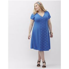 Lane Bryant Plus Size Lace Inset Trapeze Dress ($50) ❤ liked on Polyvore featuring dresses, blue oasis, plus size, swing dress, plus size trapeze dress, blue lace dress, blue v neck dress and womens plus dresses