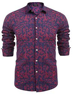 00e742ea COOFANDY Men's Fashion Print Casual Long Sleeve Button Down Shirt at Amazon  Men's Clothing store: