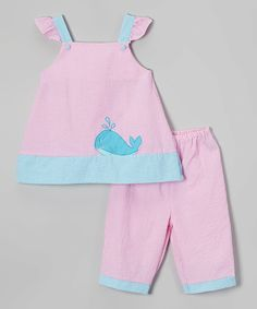 This Petit Pomme Pink & Blue Whale Smocked Top & Capri Pants - Infant & Toddler by Petit Pomme is perfect! #zulilyfinds
