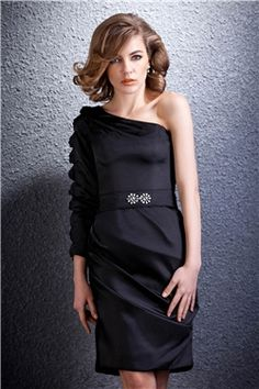 Elegant Knee Length Sheath Column One Sleeve Darias Party Dress