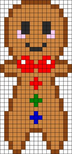 Gingerbread Boy Perler Bead Pattern | Bead Sprites | Holidays Fuse Bead Patterns