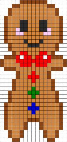 Gingerbread Boy Perler Bead Pattern / Bead Sprite