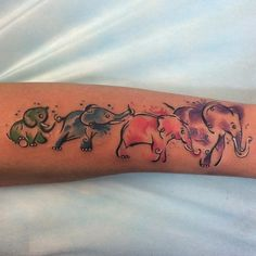 Watercolor Elephant Family Tattoo Design For Forearm