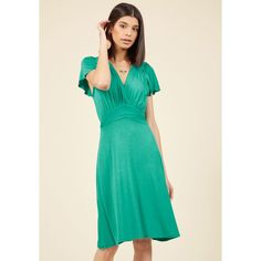 Not only does this rich coral dress' fluttery cap sleeves and flowy skirt complement your free spirit, its ruched surplice bodice and sash-topped waistband. Shirred Dress, Surplice Dress, Ruffle Dress, Knit Dress, Jade Dress, Coral Dress, Green Dress, Unique Dresses, Casual Dresses