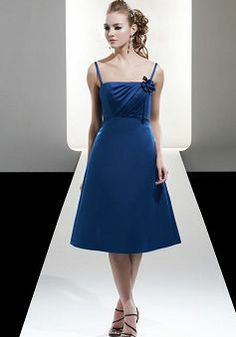 A line Satin Straps With Flowers Sleeveless Knee Length Bridesmaid Gowns - Angeldress.co.uk