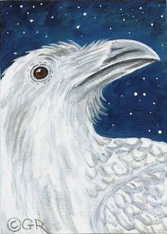 "Raven #27 - ""Albino Raven"" ACEO in Acrylic on acrylic paper.  Inspired from reading an article on rare albino Ravens in Washington state. Sold to a non-raven collector who just ""loved the colors""."