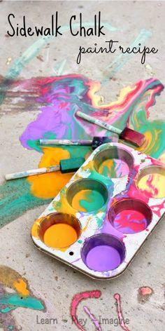 Allison @ Learn Play Imagine Two minute recipe for homemade sidewalk chalk paint in vibrant colors - so simple and fun! Homemade Sidewalk Chalk, Sidewalk Chalk Paint, Baby Crafts, Toddler Crafts, Crafts For Kids, Summer Activities For Kids, Art Activities, Outdoor Activities, Projects For Kids