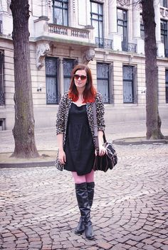 leopard, knee high boots, pink tights