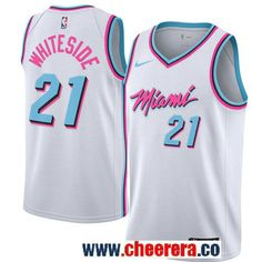 56dc0ecba675 Men s Nike Miami Heat  21 Hassan Whiteside White NBA Swingman City Edition  Jersey
