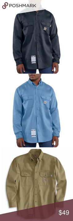 Carhartt Men's Fire Resistant Button Up FRS003 Carhartt Men's flame-resistant button up FRS003 COLORS: Dark Navy, Light Blue, or Khaki Work-Dry® lightweight twill shirt is a comfortable choice on warmer days. •  6-ounce, FR twill: 88% Cotton/12% High-Tenacity Nylon •  Button-down collar with button closure •  FR melamine buttons throughout •  Two chest pockets with flaps and button closures •  Extended sleeve plackets with two-button adjustable cuffs •  Carhartt FR label sewn on left pocket…