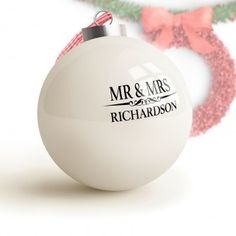 Heritage Wedding Mr and Mrs Personalised Bauble