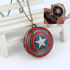 COOL!!!Captain America's Shield Superhero Logo Delicate Pocket Watch High Quality Gift To Family And Friends Movie Jewelry
