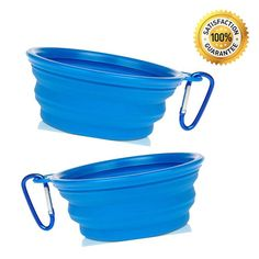 Nom Nom Puppy Collapsible Travel Dog Bowl (12 Oz) with Free Bonus Carabiner Belt Clip - 100% Satisfaction Guaranteed -- Read more reviews of the product by visiting the link on the image.