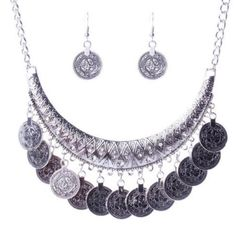 BOHO FRINGE COIN NECKLACE & EARRINGS Accented with rhinestones. Necklace is adjustable. Alloy metal. NO MODELING. NO TRADES. Jewelry Necklaces