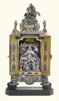An Austro-Hungarian parcel-gilt silver, lapis and enamelled house altar, Mayerhofer & Klinkosch, Vienna, 1857 -- Sotheby's