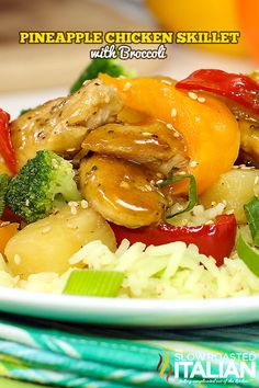Pineapple Chicken Skillet with Broccoli in 30 Minutes #TSRISummer #chicken #30minutemeal