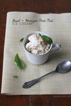 Basil and Honeyed Pine Nut Ice Cream | At the initial bite the scent and taste of basil fills the senses, but then the buttery honeyed pine nuts kick in and it's like a sweet melody against the current of basil. As far as homemade ice cream goes, this one is unique and simply should not be missed!
