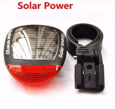 Solar Power LED Bicycle Rear Red Tail light