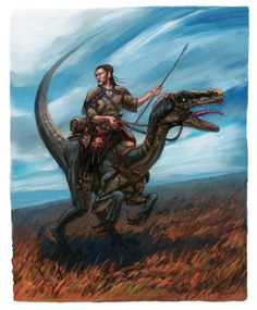 m Half Elf Rogue Thief Leather Armor Raptor Dinosaur Mount Wilderness Plains story Eberron Wiki FANDOM powered by Wikia med High Fantasy, Medieval Fantasy, Fantasy Art, Raptor Dinosaur, Dinosaur Art, Character Inspiration, Character Art, Character Design, Gato Anime