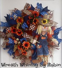 Fall Deco Mesh Wreath in Brown, Orange Blue with Denim Scarecrow and Fall Floral, Autumn Wreath, Country Chic Wreath by WreathWhimsybyRobin on Etsy Wreath Crafts, Diy Wreath, Burlap Wreath, Thanksgiving Mesh Wreath, Autumn Wreaths, Fall Deco Mesh, Scarecrow Wreath, Deco Mesh Wreaths, How To Make Wreaths
