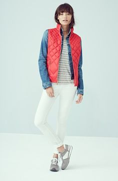 MICHAEL Michael Kors Down Vest, AJ Denim Jacket Halogen® Sweater & NYDJ Skinny Ankle Jeans  available at #Nordstrom