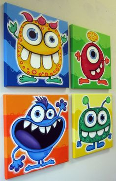 Eyed Monsters Set Of 5 Original Acrylic Paintings For Kids Room Or Nursery Monster Art Monster Wall Art For Kids Blue Eyed Monsters Set Of 5 Original Acrylic Paintings For Kids Room Or Nursery Monster Art Monster Wall Art For Kids Colorful And Happy A Art Drawings For Kids, Drawing For Kids, Drawing Drawing, Easy Canvas Art, Kids Canvas, Monster Art, Acrylic Painting For Kids, Acrylic Paintings, Diy Arts And Crafts