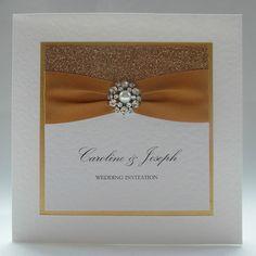 Glamour Wedding Invitation, Handmade, Crystal, Gold, Glitter