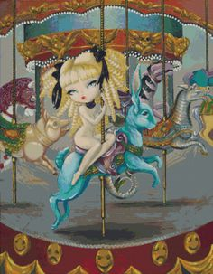Modern Cross Stitch Kit 'le Carousel De Mimi' By Simona Candini - Counted…