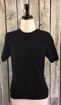 Nordstrom Studio 121 S Sweater Top Solid Black 100% Cashmere Short Sleeve Crew #Studio121Nordstrom #Crewneck