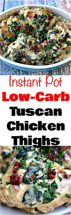 Instant Pot Low-Carb Creamy Garlic Tuscan Chicken Thighs is a quick and easy healthy pressure cooker recipe with sundried tomatoes, spinach, and a cream cheese and parmesan cream sauce. #InstantPot #InstantPotRecipes #PressureCooker #PressureCookerRecipes #Chicken #ChickenRecipes