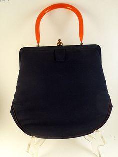 Navy Blue Cloth Purse Handbag Vintage GARAY Vintage by pursenbootz, $34.99