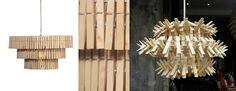 Lampara de techo hecha de pinzas/ Ceiling lamp made of wooden pegs  #recycle design