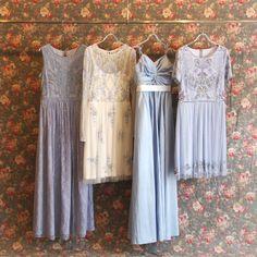 イリュージョンネック・スパンコールロングスリーブドレス #Bridesmaid #Wedding #Dress #White #Blue #Vintage #Sequin