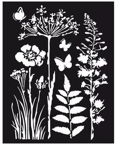 Объемный трафарет для декупажа Полевые цветы и травы Stamperia KSTD016 купить